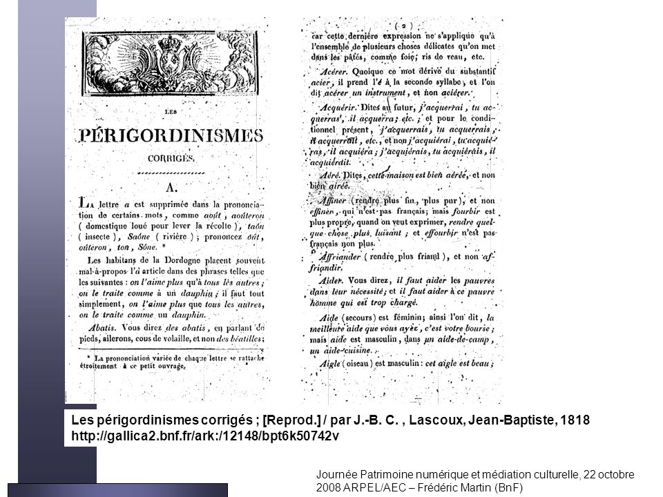 Les périgordinismes corrigés ; [Reprod. ] / par J. -B. C